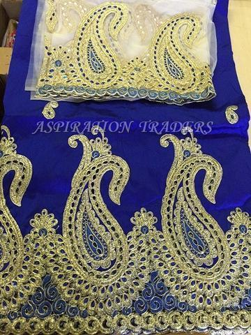 ffc2390fb7d5d1 Raw Silk Embroidered Wrapper With Blouse at Rs 1500  piece