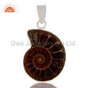 Ammonite Shell Gemstone Sterling Silver Pendant Jewelry