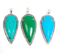 Turquoise CZ Pave Set Arrowhead Gemstone Pendant