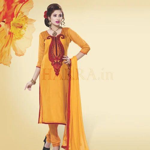 0329ea80af06 Mustard Color Embroidered Dress Material