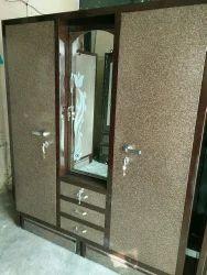 GC STEEL WORKS Golden brown Steel Almirah with locker or mirror