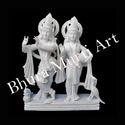 Radha Krishna White Marble Statue