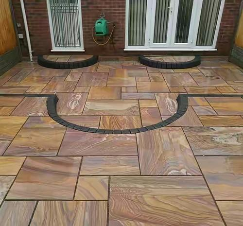 Wood Look Rainbow Sandstone Flooring Tiles, Thickness: 5-10 mm