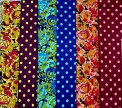 Floral And Dots Printed Cotton Fabrics
