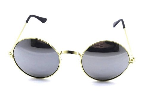 872b0c581cc Round Silver Lens Gandhi Style Sunglass On A Golden Frame
