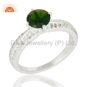 White Topaz Chrome Diopside Design Silver Solitaire Rings