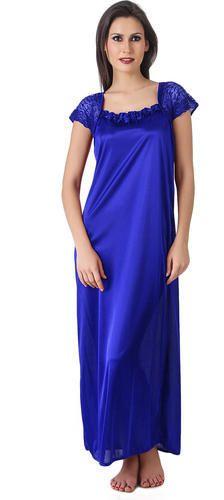 Nighties Plain Kacey One Piece Royal Blue Night Wear For Women 0ebb16055