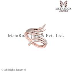 14k Rose Gold Diamond Designer Ring