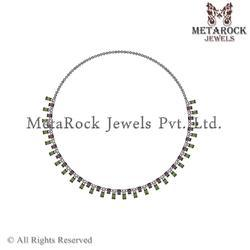 Pave Diamond Mix Stone Silver Necklace