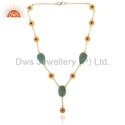 Designer Gold Plated Silver Gemstone Necklace