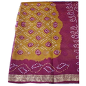 Printed Bandhani Silk Gulti Saree, Length: 6.3 m (With Blouse Piece)