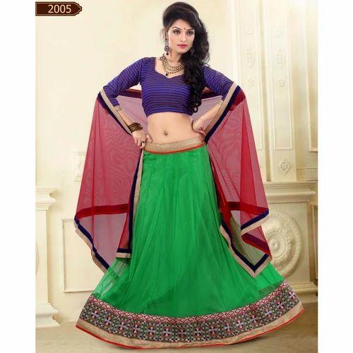 dc54774e68 Triveni Green Colored Border Worked Net Satin Lehenga Choli at Rs ...