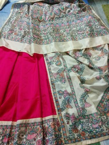 Half N Half Silk Saree With Madhubani Painting