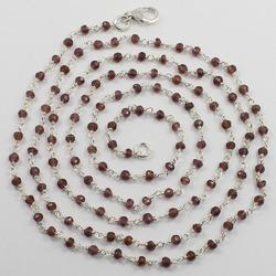 Garnet Wire Wrapped Beaded Chain Necklace