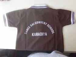 Brown Cotton School T Shirt Back Name 15