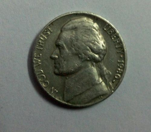 Old Coin Of United States Of America 1980 Of Five Cents