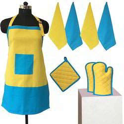 Yellow And Blue Cotton Apron Set, for Kitchen