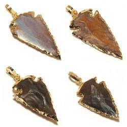 Gold Electroplated Agate Arrowhead Pendant