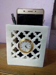Marble Clock Mobile Pen Holder