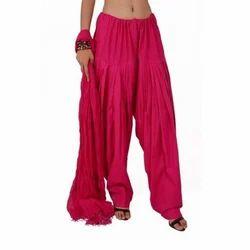 Pink Cotton Patiala Salwar With Dupatta