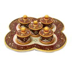 Marble Handicraft Hand Painted Dry Fruit Tray