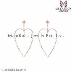 Heart Design 14k Rose Gold Diamond Drop Earring
