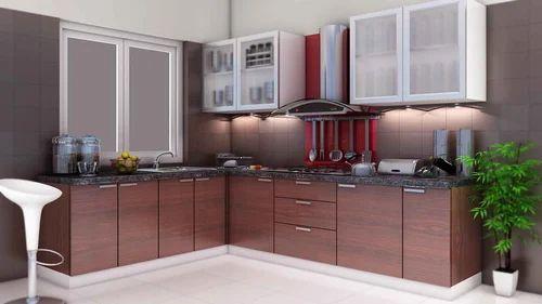 L Shape Wooden Modular Kitchen