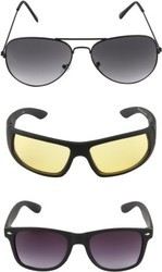 Abster Combo Wayfarer, Aviator Sunglasses (Black, Grey), Pack Size: 150gm, For Casual, Party