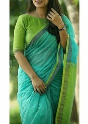 Pure Handloom Linen Blue and Green Embroidery Saree