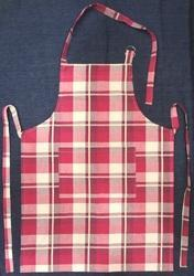 Red Checked Cotton Apron