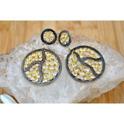 Crystal Studded Silver Earrings