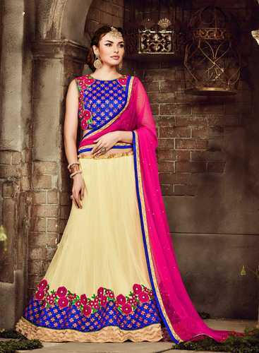 7f44c18d91 Bollywood Style Beige Pink Net Embroiderd Lehenga Choli at Rs 4000 ...