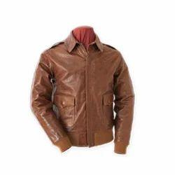 Men Brown Leather Collar Jacket