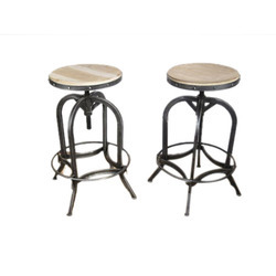 Adjustable Wooden Top Bar Stool