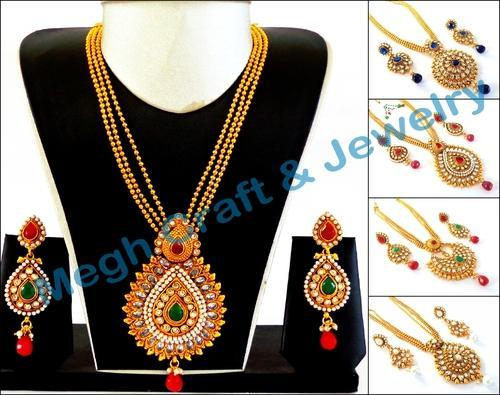 big set style necklace pendant gold gram at plated one bollywood rs proddetail