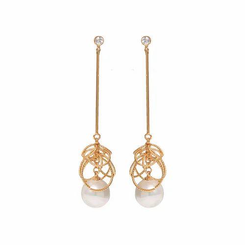 Elegant Gold Chain Pearl Drop Earring