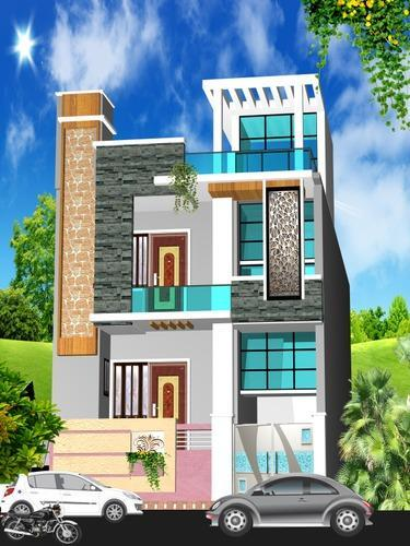 House 2 floor front 3d elevation design service hospital front 3d elevation design service Home architecture in jaipur
