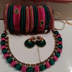 KT COLLECTION Beautiful Silk Thread Jewellery Set