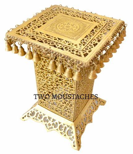 Handecor Brass Decorative Corner Table With Hanging Bells