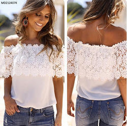 972b8e915cc24a Trendy Off Shoulder Short Sleeve Lace Patchwork White Top