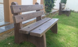 Wooden Texture Cement Bench