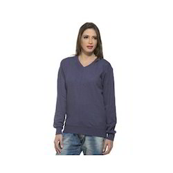 Ladies V Neck Sweat Shirt
