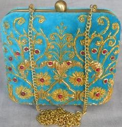 Embroidered Sky Blue Ladies Clutch Bag