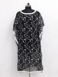 Ladies Hand Embroidered Black Kaftan