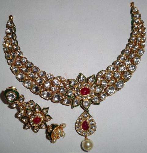 555c6abff1b69 Indian Gold Kundan Necklace Set - Agarwal & Co., Jaipur | ID: 9223864655