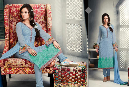 dd17ece741 Women Semi-Stitched Georgette Light Blue With Heavy Work Straight Cut Suit