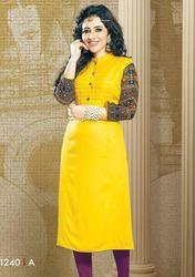 Beautiful Yellow Cotton Rayon Printed Kurtis