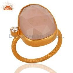 Gold Plated Gemstone CZ Ring Jewelry