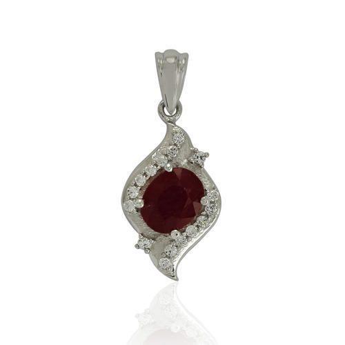 Ruby silver pendant at rs 594 pieces johari bazar jaipur ruby silver pendant aloadofball Choice Image