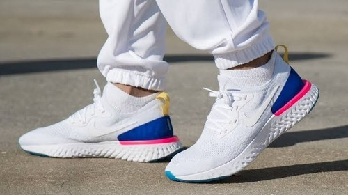 best loved ffb28 48d22 Nike Epic React Flyknit Sports Shoes(white Blue Red)